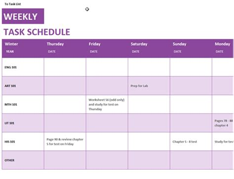 Task Calendar Template by W 246 Chentliche Aufgabenliste Office Templates