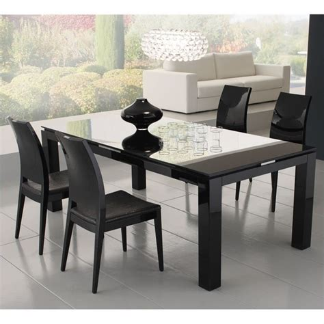 Rossetto Dining Table Rossetto Rectangular Dining Table With Glass Top In Black R700ad2000028