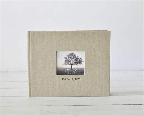 the white linen books guest book with photo frame cover an archival keepsake
