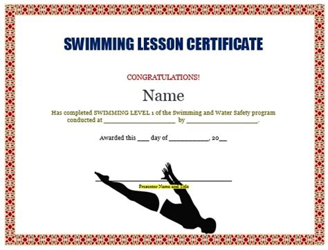 swimming certificate template 30 free swimming certificate templates printable word