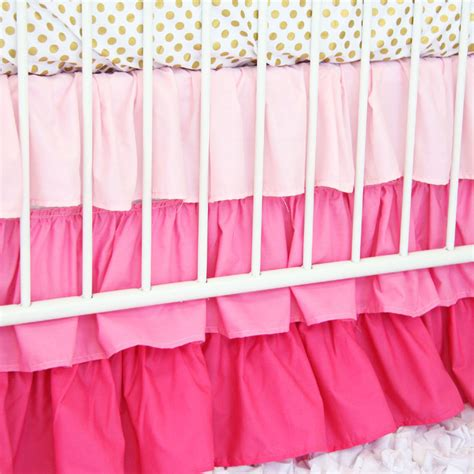 pink and gold crib bedding pink and gold dot ruffle crib bedding set by caden lane