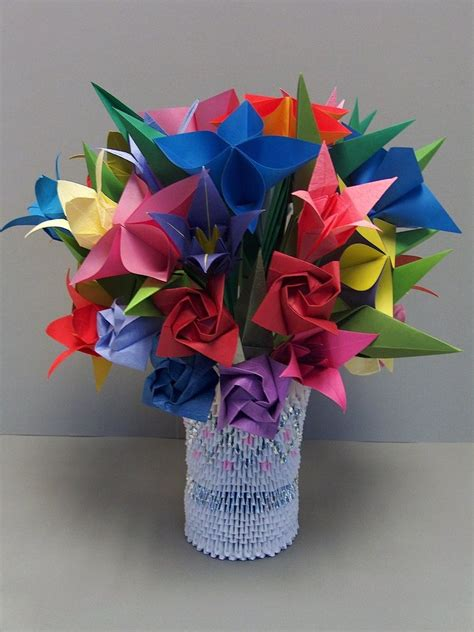 paper flower origami 3d model 3d origami flowers in vase 2 by sabrinayen on deviantart