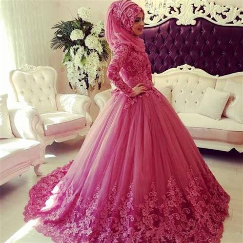 Muslim Pink pink wedding dress saudi arabic wedding gown lace