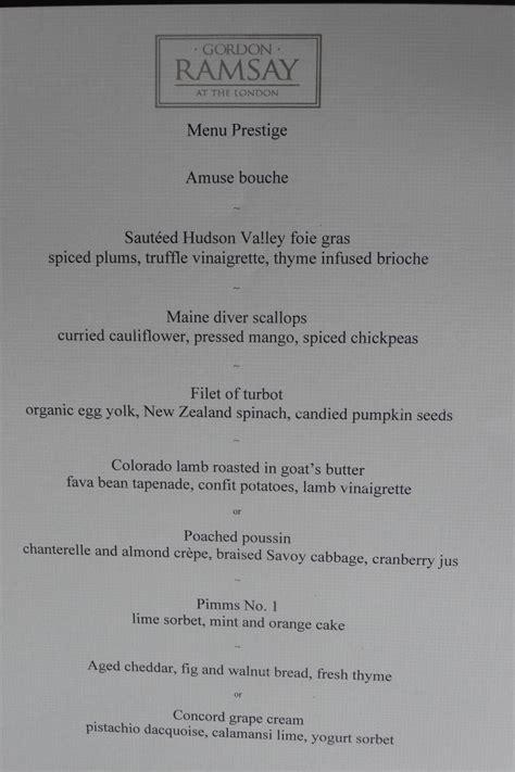 gordon ramsay dinner menu a special birthday dinner at gordon ramsay at the