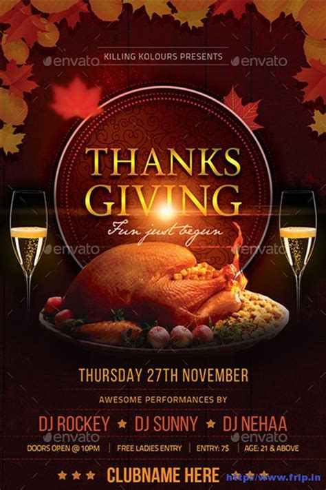 100 Best Thanksgiving Party Flyers Print Templates 2016 Frip In Thanksgiving Dinner Flyer Template