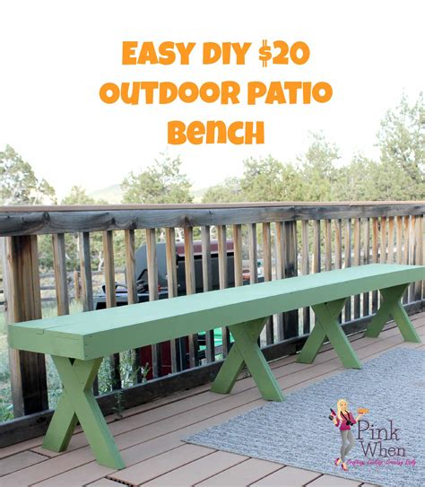 patio bench diy diy 20 outdoor patio bench pinkwhen