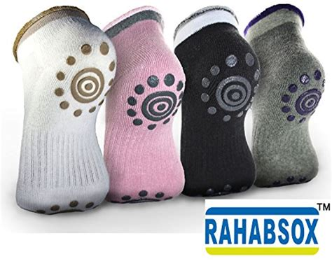 Socks Kaos Kaki Pilates Non Slip Grip Health best non slip skid pilates socks with grips cotton for pack of 4 wholesomeone