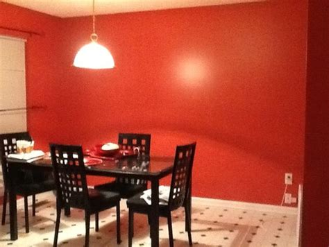 red kitchen and empty wall space