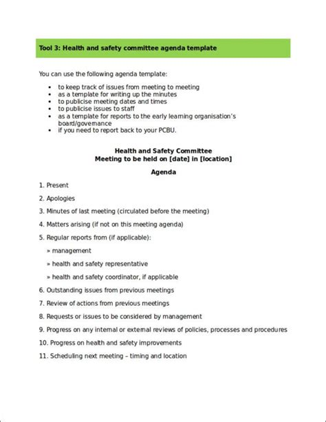 template health and safety committee 17 safety agenda sles templates free word pdf