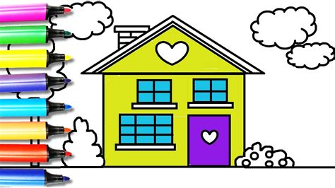 how to color a house how to draw and color the house coloring page for kids