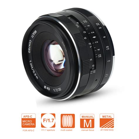 lensa meike 35mm f1 7 for sony meike 35mm f1 7 fixed manual lens for mirrorless aps c