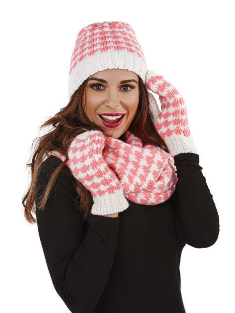 womens knitted gloves mittens beanie hat snood