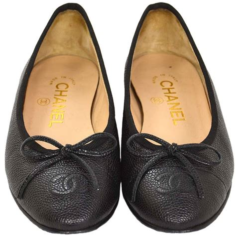 chanel ballet flat shoes chanel 2014 black caviar leather ballet flat shoes sz 34