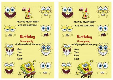 printable spongebob birthday decorations spongebob birthday invitations birthday printable