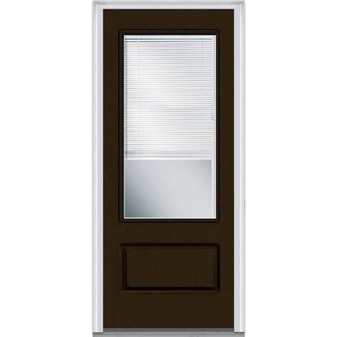 Exterior Door Blinds Milliken Millwork 37 5 In X 81 75 In Classic Clear Glass 1 2 Lite 1 Panel Primed Fiberglass