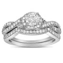 Infinity Wedding Set 2 Carat Infinity Wedding Ring Set In White