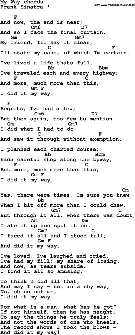 lyrics frank sinatra song lyrics with guitar chords for my way frank sinatra