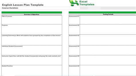 english lesson plan template free english lesson plans