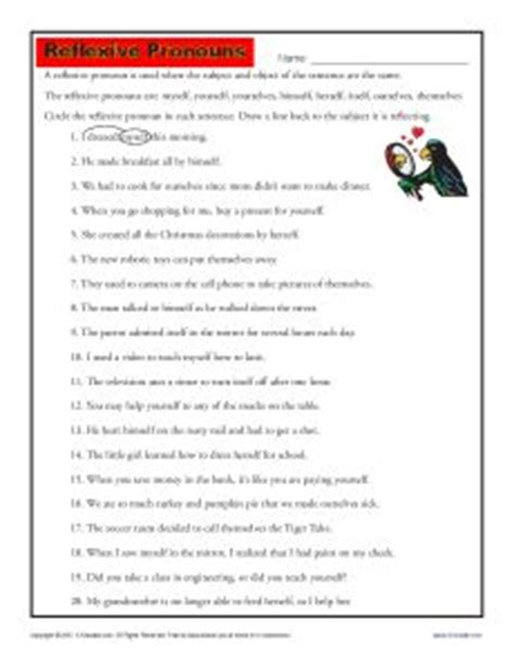 Reflexive And Intensive Pronouns Worksheet by Reflexive Pronouns Pronoun Worksheets