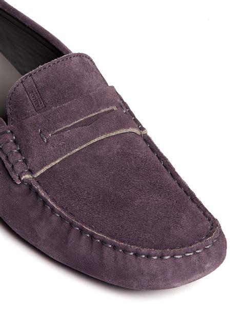 mens purple loafers lyst armani suede loafers in purple for