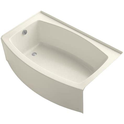 kohler expanse bathtub kohler expanse 5 ft left drain soaking tub in biscuit