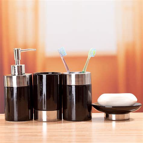 elegant home fashions neligh 4pc bathroom accessory set remarkable black ceramic bathroom accessories contemporary