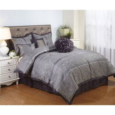 gray bedding comforter set polyester queen size  piece bed   bag striped  ebay