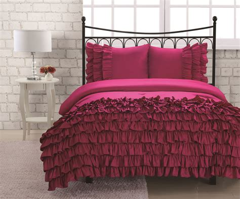 twin ruffle comforter twin miley mini ruffle comforter set pink ebay