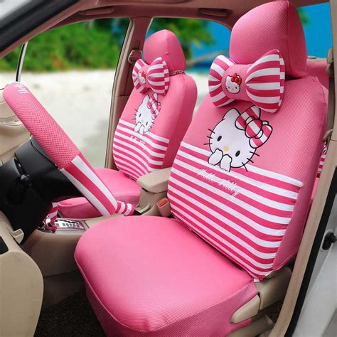 hello car seat covers silk 18pcs universal car seat cushion car steering