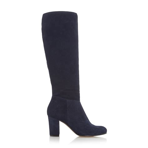 dune toulon knee high block heel suede boot in blue navy