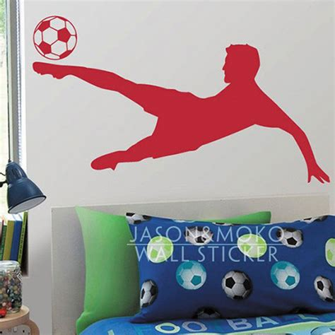 sports wall stickers for bedrooms soccer football player kicking sports vinyl wall