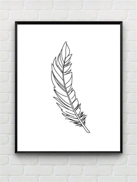 printable minimalist art feather print printable black white art minimalist print