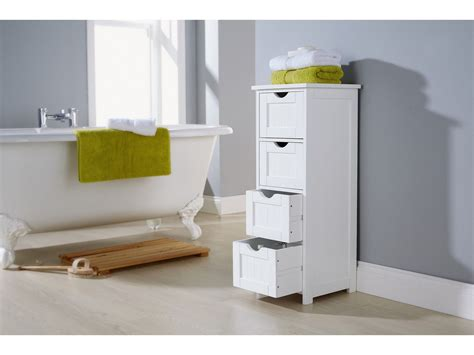 Shaker Style Bathroom Cabinet 4 Drawer Storage Unit Bathroom Storage Unit White