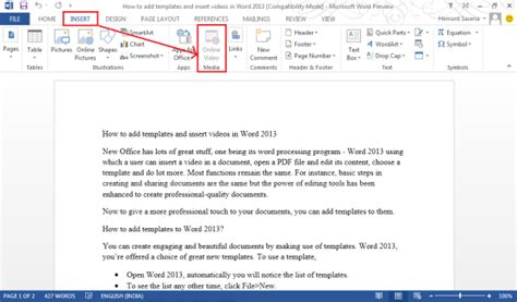 Add Templates And Videos To Word 2013 How To Add A Template To Word