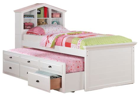Kids Twin Storage Captain Bed W Bookcase Headboard Trundle