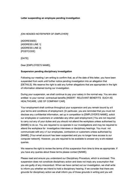 suspension letter templates