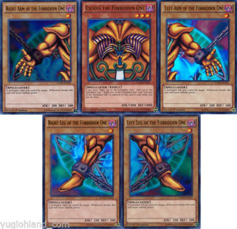 yugioh edition card template yugioh 1st edition exodia the forbidden one 5 card set w