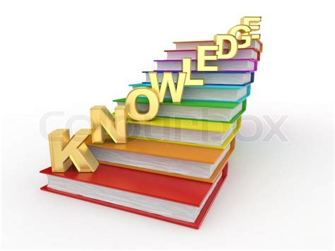 Knowledge Book word knowledge on books as staircase stock photo colourbox