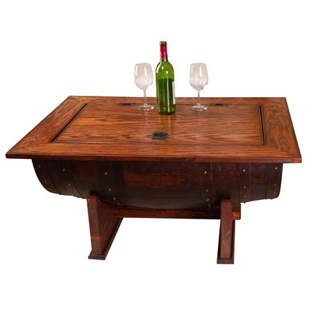 wine barrel distressed finish coffee table