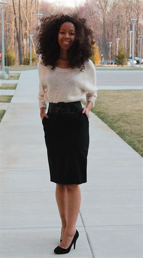 slouchy sweater and pencil skirt style