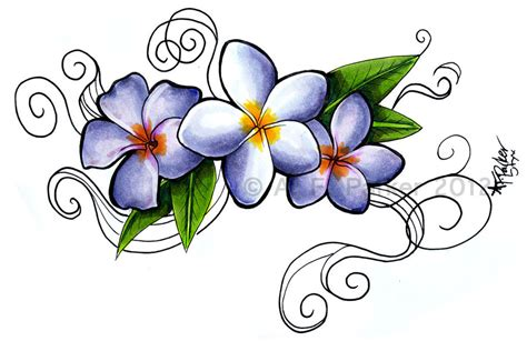 plumeria siam lilac and jack purple tattoo by styx