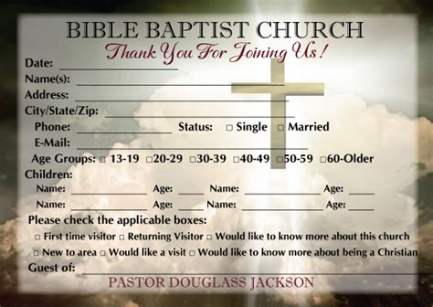 church visitor card template church visitor card template images