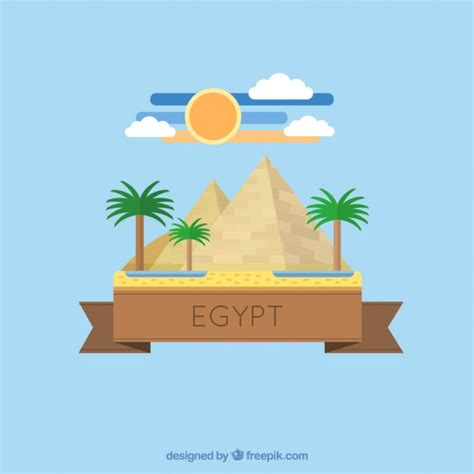 flat design free vector egyptian pyramid in flat design vector free download