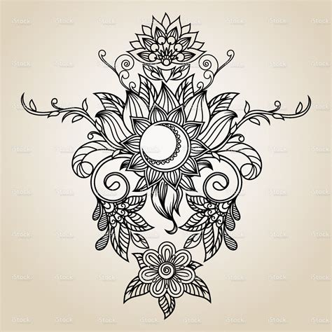 flower moon tattoo beautiful vintage ethnic pattern drawing