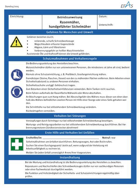 Vorlage Betriebsanweisung Blau Betriebsanweisungen Efas Evangelische Fachstelle F 252 R Arbeits Und Gesundheitsschutz