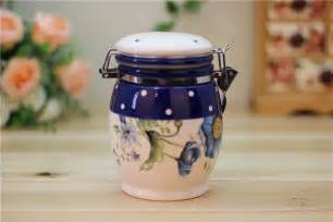 ceramic canisters for the kitchen blue poppy ceramic kitchen canisterswatzin