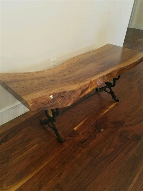 Live Edge Table Legs by Live Edge Walnut Coffee Table With Ornamental Iron