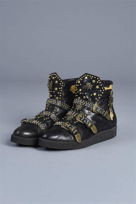 farouche calfskin studded high top sneaker boots at