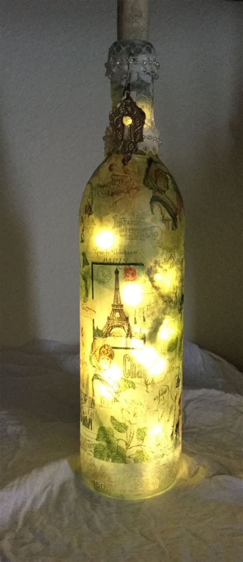 Decoupage Wine Bottles - decorative wine bottle light w led battery operatted
