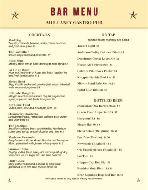 beer menu bar menus